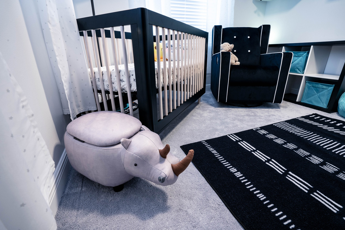 Space themed black and white nursery